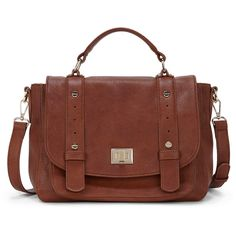 Sole Society Presley Vegan Leather Messenger (140 BRL) ❤ liked on Polyvore featuring bags, messenger bags, purses, brown, top handle bags, faux leather messenger bag, foldover messenger bag, zip top bag and vegan leather bags
