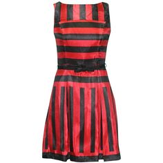 Julian Taylor Women's Sleeveless Stripe Fit and Flare Party Dress ($26) ❤ liked on Polyvore featuring dresses, sleeveless dress, stripe dress, red striped dress, red sleeveless dress and striped fit and flare dress