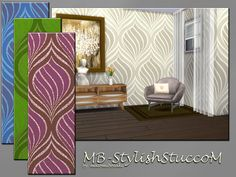 MB-StylishStuccoM, stylish and extraordinary wallpaper, modern and chic, comes in 4 intensive colors, 3 wall-hights and custom thumbnail, created for Sims 4, by matomibotaki. Found in TSR Category...