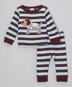 Love this Blue & Brown Puppy Tee & Pants - Infant & Toddler on #zulily! #zulilyfinds