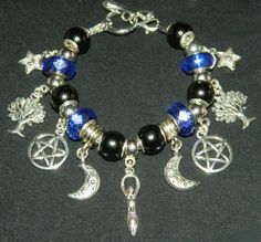 Silver-Pagan-Wiccan-Charm-Bracelet-NEW-Celestial-Tarot-Occult-Choose-Style