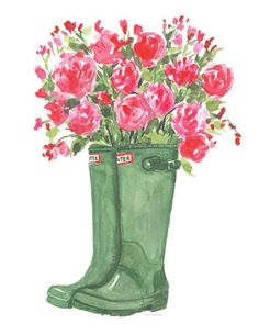 Hunter boots and roses/ watercolor roses decor/ shabby chic decor/ watercolor flowers/ gifts for her Watercolor Rose, Watercolor Illustration, Watercolor Paintings, Rose Decor, Spring Painting, Pictures To Paint, Flower Art, Cool Art, Art Projects