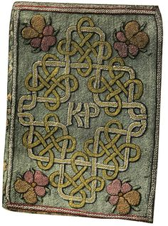 """The Miroir or Glasse of the Synneful Soul, a translation from the French, by Elizabeth, presented to Catherine Parr in 1544. The embroidered binding with the monogram KP for """"Katherine Parr"""" is believed to have been worked by Elizabeth."""