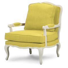 Baxton Studio Antoinette Classic Antiqued Yellow Fabric French Accent Chair, White