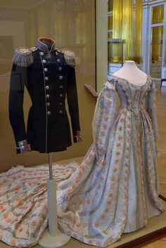 Russian court dress with pink flowers, Mid 19th century.