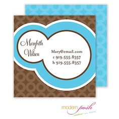 Modern Posh Blue Bubble Posh Calling Card Blue & Brown Calling Card.  Great and unique business card