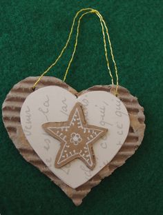 My creation. Christmas tree ornament handmade with corrugated cardboard, old…