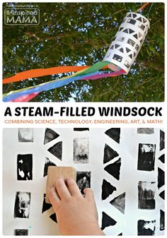 A STEAM Filled Windsock Art Project for Kids at B-Inspired Mama Preschool Science, Science Experiments Kids, Science For Kids, Art For Kids, Science Art, Preschool Ideas, Steam Activities, Kids Learning Activities, Science Activities