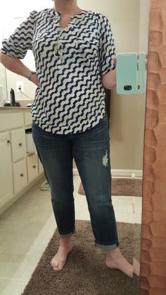 Kut From Kloth Aviva Boyfriend Jeans and Filbert Abstract Striped Henley Blouse Love these!!! From my April Fix
