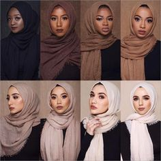 Ideas style korean girl hijab for 2019 - outfit.tophaarmodelle - M MISM Ethnic Oversize Muslim Crinkle Hijab Head Scarf Women Solid Bubbleintothea Hijab Musulman, Hijab Mode, Turban Hijab, Muslim Hijab, Hijab Dress, Hijab Outfit, Hijab Makeup, Dress Makeup, Hijab Styles