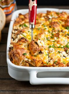 Sausage, Goat Cheese, and Chive Bagel Strata | NeighborFoodBlog.com