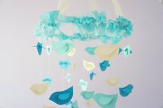 Aqua Nursery Mobile Birds in Aqua Ivory & by LoveBugLullabies, $63.00
