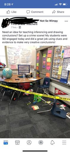 Fake crime scene for teaching inferences in the classroom Teaching Activities, Teaching Reading, Classroom Activities, Teaching Tools, Teaching Ideas, Classroom Ideas, English Classroom, Future Classroom, School Classroom