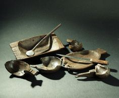 A selection of wooden utensils from the Oseberg Viking ship burial, c. 9th century AD ( http://www.unimus.no/photos/khm/103181/?f=html) / via irarchaeology on Twitter