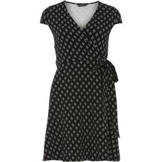 Dorothy Perkins Black printed wrap dress (£28) ❤ liked on Polyvore featuring dresses, black, jersey wrap dress, cotton jersey, geometric design dresses, wrap dresses and cap sleeve wrap dress