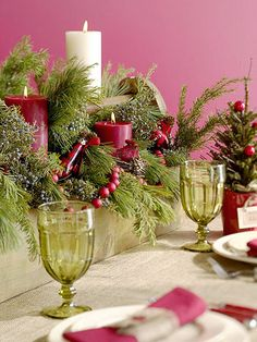 All Boxed Up -- A rustic wooden toolbox lets a holiday centerpiece spread out. Stand pillar candles on supports, such as candleholders or even soup cans, so they are set at different heights. Next, add bowls or low containers of damp florist's foam and arrange the greenery. A sweep of garland and a cardinal's nest add a final touch.        Editor's Tip: Be sure to keep the candle flames a safe distance from the greenery and other elements.