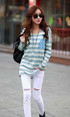 Women's Simple Blue Blouse ♥ http://www.koreastylelove.com/blue-white-spring-2015-trend-korean-spring-fashion/