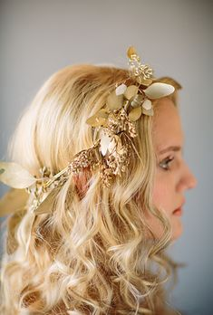 Brides: The Prettiest Wedding Hairstyles with Flower Crowns  A Gold-Sprayed Flower Crown   Photo by Tory Williams