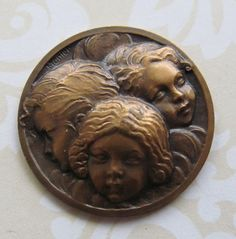 Angels French Bronze Antique Religious Art Medal By Monier SS328