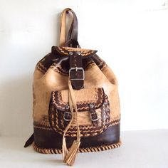 Mexican Hand Tooled Leather Back Pack by pascalvintage on Etsy, $86.00