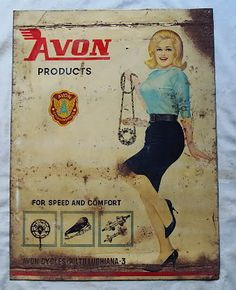 vintage avon products | AVON CYCLE PRODUCTS Tin Sign