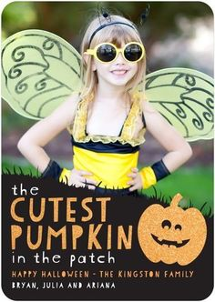 Your precious little pumpkin will love seeing her face on a personalized kids Halloween card.