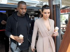 Sweet Treat  Kanye West and Kim Kardashian's new love is so hot that they needed a cold treat to cool down! The couple indulges in ice cream cones during their trip to the Cannes Film Festival on May 23.