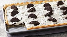 This easy cookies & cream slab pie is perfect for those summer backyard picnics.  ****Instead of using whipping cream, use Cool Whip double amt in place of cream to save a step.