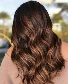 Really searching for latest hair color shades to show off for more cute look? If yes then we're here to present you amazing brunette balayage hair colors for various hair lengths like long or… Caramel Brown Hair Color, Brown Blonde Hair, Brown Hair With Highlights, Brown Hair Colors, Color Highlights, Wavy Hair, Brunette Highlights, Hair Updo, Cinnamon Brown Hair Color