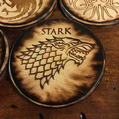 Game of Thrones Coaster Set Handmade Wood Burning by TheEmberedOak