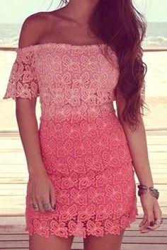 Elegant Slash Neck Short Sleeves Ombre Lace Dress For Women