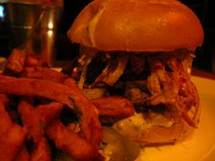 Route 66 Smokehouse's Brisket sandwich with a side of sweet potato fries- Delicious!