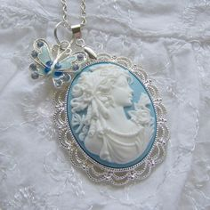 Items similar to Southern Belle Large Pendant - Gone With The Wind - Blue and White - Butterfly Lady - UDC on Etsy Mom Jewelry, Pink Jewelry, Bridal Jewelry, Jewelery, Unique Jewelry, Jewelry Necklaces, Vintage Cameo Jewelry, Vintage Illustration Art, Southern Belle