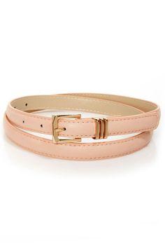 Cute Peach Belt - Skinny Belt - Vegan Belt - $10.00