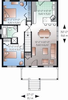 Ranch Style House Plan - 2 Beds 1.00 Baths 870 Sq/Ft Plan #23-2200 Floor Plan - Main Floor Plan - Houseplans.com