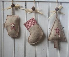 Rustic Christmas Tree Stocking Mitten Decoration Made From Hessian