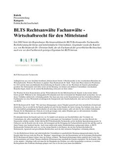 BLTS Rechtsanwälte Fachanwälte - Wirtschaftsrecht für den Mittelstand