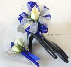Rose of Sharon Floral Designs, Royal Blue and Silver Boutonniere and Corsage