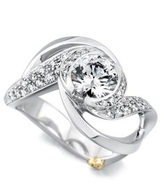 The Paramour engagement ring contains 37 diamonds, totaling 0.365ctw. Center stone sold separately, not included in price.