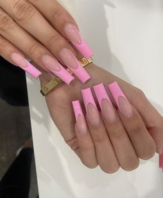 French Tip Acrylic Nails, Acrylic Nails Coffin Pink, Short Square Acrylic Nails, Long French Nails, White Tip Acrylic Nails, Long Square Nails, Tapered Square Nails, Pink Acrylics, Coffin Nails