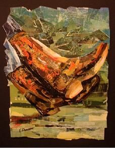 Eileen Downes collage artist cowboy boots shoes torn paper painting colorful