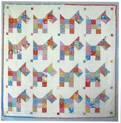 Scotties Quilt Pattern QBE-121e Sweet little Scottie dogs, as scrappy as can be. A quick, fun and easy quilt pattern.