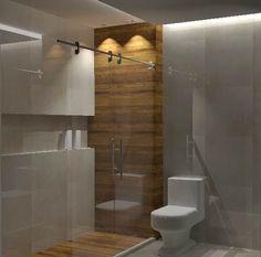 Resultado de imagem para banheiros com detalhes em madeira no box