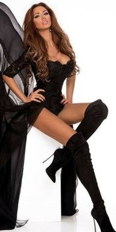 Black Thigh High Boots, High Heel Boots, Heeled Boots, Leather Dresses, Sexy Boots, Fashion Shoot, Black Is Beautiful, Sexy Outfits, Sexy Women