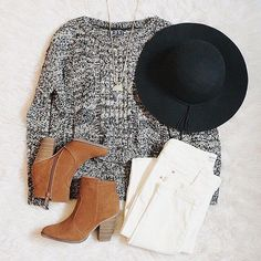 Black floppy felt hat, gray oversized sweater, white jeans, & suede booties