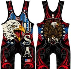 Check out the red USA Triumph singlet. Great for freestyle/greco! Wrestling Singlet, Wrestling Shoes, Fight Wear, Red And Blue, Tank Man, Usa, Sports, Kids, Handmade
