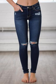Jeans fit and color. Dont like both knees like that though. In No Rush Distressed Skinny Jeans - Dark Wash