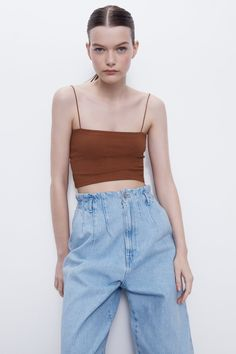 Cropped Tank Top, Crop Tank, Tank Tops, Zara Israel, Strappy Crop Top, Zara Women, Overall Shorts, Mom Jeans, Summer Outfits