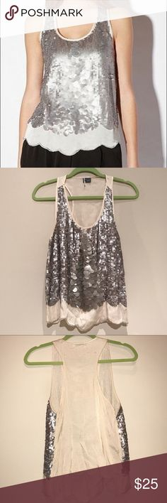 Urban Outfitters Sparkle & Fade Silver Sequin Top U.O Sparkle and Fade silver sequin tank top. Size M. In great used condition! Missing beading as pictured, you can barely notice! Urban Outfitters Tops