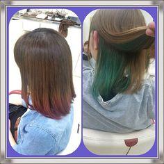 WEBSTA @ scottsa____n - またまた、後輩のカラー!赤紫に緑!カラフルすぎるやろ 笑#マニパニ#インナーカラー#カラーは楽しいね#カットよりも#でも塗るのは嫌い